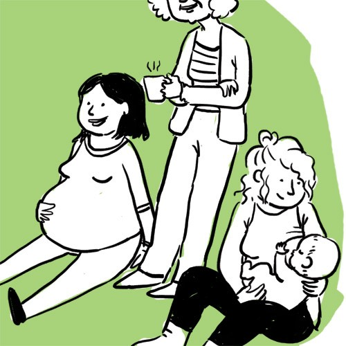 Parenting, materning, prenatal and posnatal meetings illustration