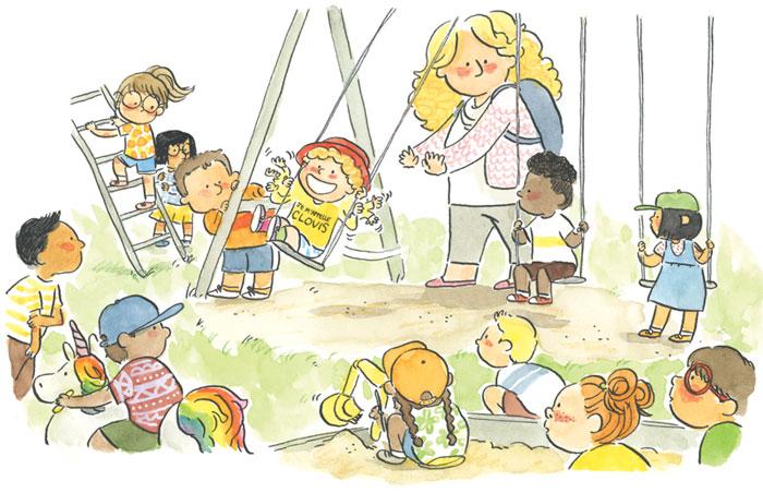 Au parc. Extrait du livre Est-ce-que Clovis est un papillon ? On voit une scène dans un parc où Clovis se balance en agitant les mains. Sa maman lui donner des poussées. Ils sont entourés d'enfants qui regardent Clovis, intrigués.